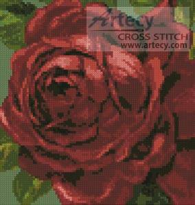 cross stitch pattern Mini Red Rose