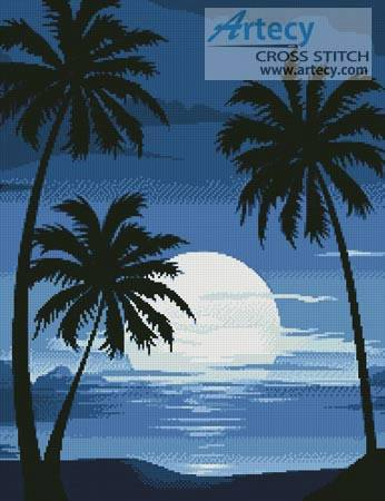 cross stitch pattern Moonlight with Palm Trees