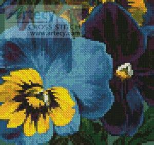 cross stitch pattern Mini Pansies 3