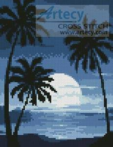 cross stitch pattern Mini Moonlight with Palm Trees