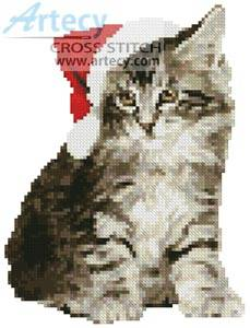 cross stitch pattern Mini Santa Cat