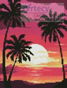 cross stitch pattern Mini Sunset with Palm Trees