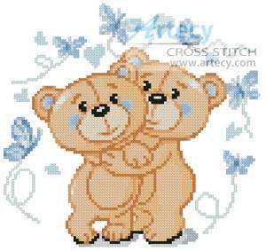 cross stitch pattern Mini Teddies in Love (Blue)
