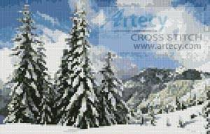 cross stitch pattern Mini Winter Landscape