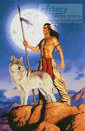 cross stitch pattern Native American and Wolf