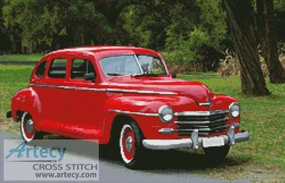 cross stitch pattern Old Red Car