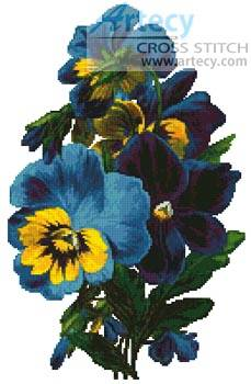 cross stitch pattern Pansies 3