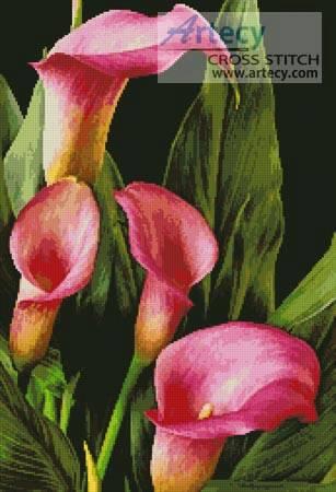 cross stitch pattern Pink Calla Lilies