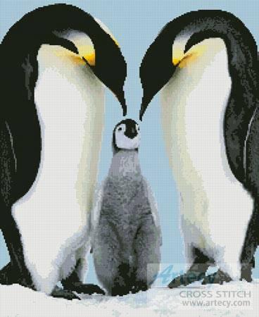 cross stitch pattern Penguin Parents