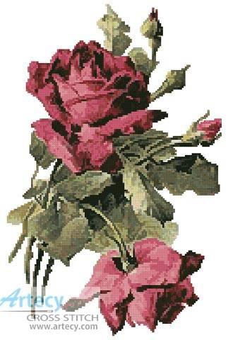 cross stitch pattern Pink Roses 3