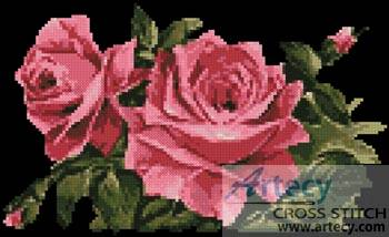 cross stitch pattern Pink Roses 1