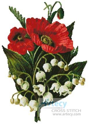 cross stitch pattern Poppies and Lily of the Valley