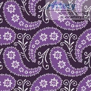 cross stitch pattern Purple Paisley Cushion