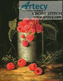cross stitch pattern A Pail of Raspberries