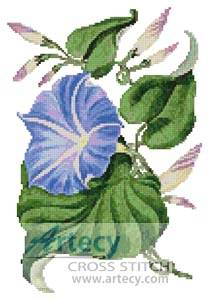 cross stitch pattern Reddish Blue Morning Glory