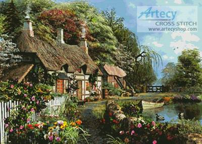 cross stitch pattern Riverside Home in Bloom