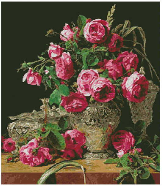cross stitch pattern Roses Painting