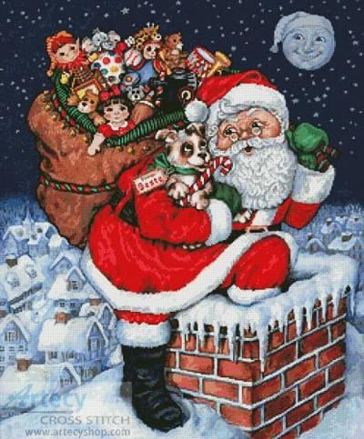 cross stitch pattern Santa's Cutest Gift