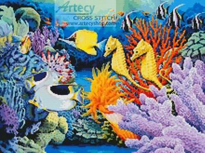 cross stitch pattern Seahorse and Fish