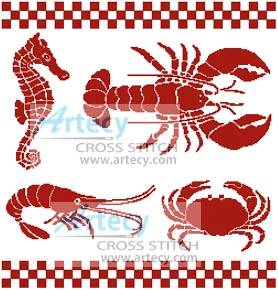 cross stitch pattern Seafood