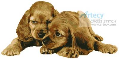 cross stitch pattern Spaniel Puppies