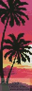 cross stitch pattern Sunset with Palm Trees Bookmark