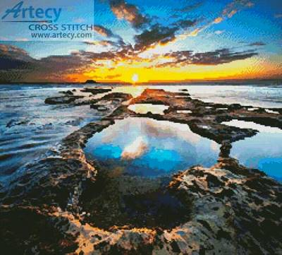 cross stitch pattern Sunset Rock Pools
