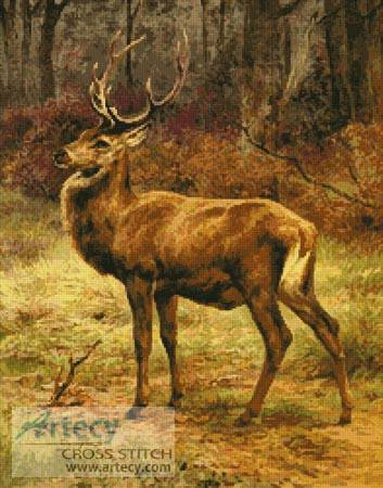 cross stitch pattern Stag in Autumn Landscape