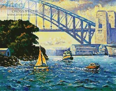 cross stitch pattern Sydney Harbour, Goat Island