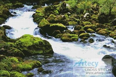 cross stitch pattern Stream in a Forest