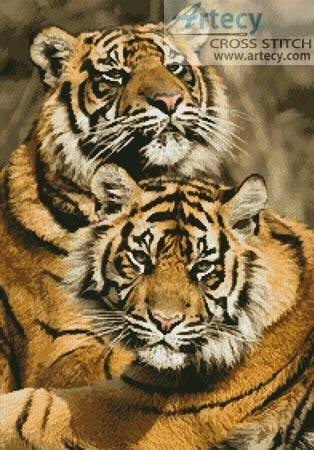 cross stitch pattern Sumatran Tigers