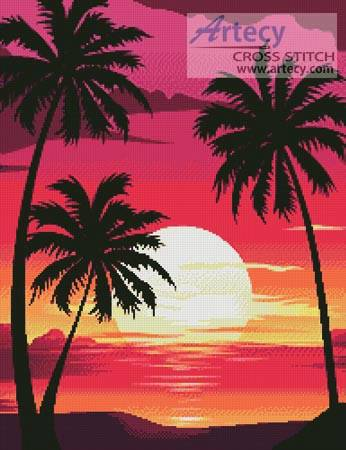 cross stitch pattern Sunset with Palm Trees