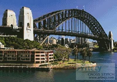 cross stitch pattern Sydney Harbour Bridge