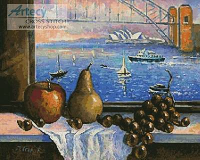 cross stitch pattern Sydney Harbour Bridge from Lavender Bay