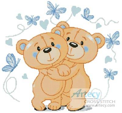 cross stitch pattern Teddies in Love (Blue)