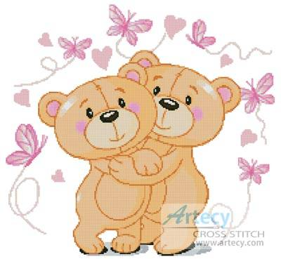 cross stitch pattern Teddies in Love (Pink)