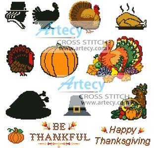 cross stitch pattern Thanksgiving Motifs