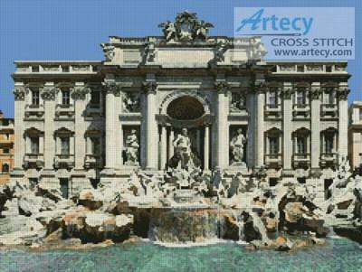 cross stitch pattern Trevi Fountain Photo