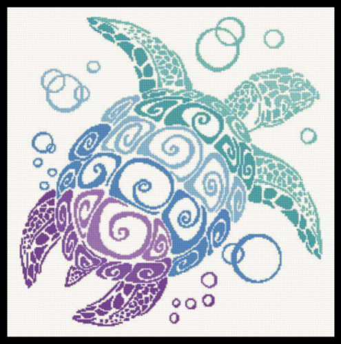 cross stitch pattern Turtle Silhouette