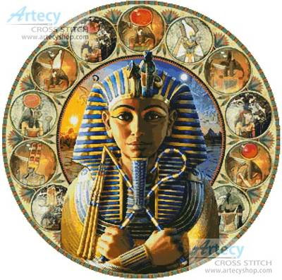 cross stitch pattern Tutankhamun Circle