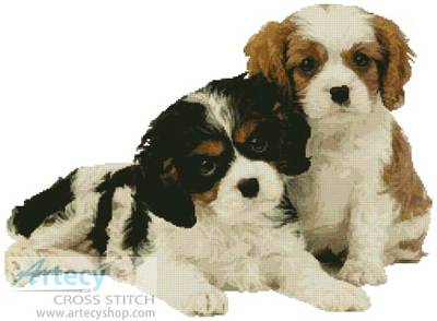 cross stitch pattern Two Spaniel Pups
