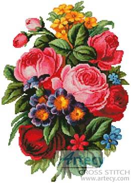 cross stitch pattern Victorian Bouquet