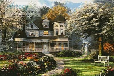 cross stitch pattern Victorian Home