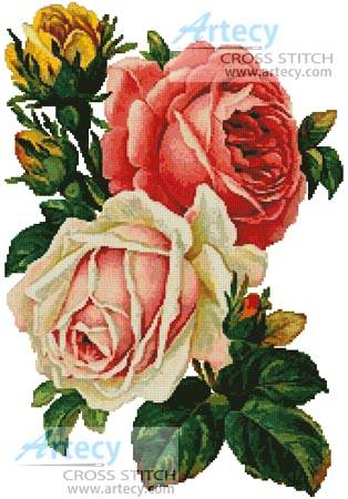 cross stitch pattern Victorian Roses
