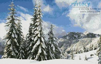 cross stitch pattern Winter Landscape