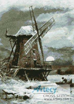 cross stitch pattern Winter Windmill