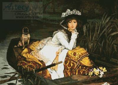 cross stitch pattern Young lady in a Boat