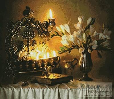 cross stitch pattern Hanukkah with Flowers
