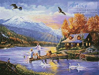 cross stitch pattern Grandpa's Cabin
