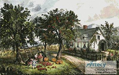 cross stitch pattern American Homestead (Autumn)